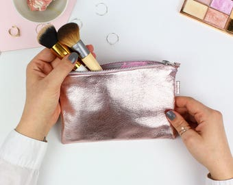 Rose Gold Leather Cosmetic Bag // Small Leather Clutch, Leather Makeup Bag, Bridal Bag, Leather Pouch, Leather Cosmetic Bag, Leather Bag