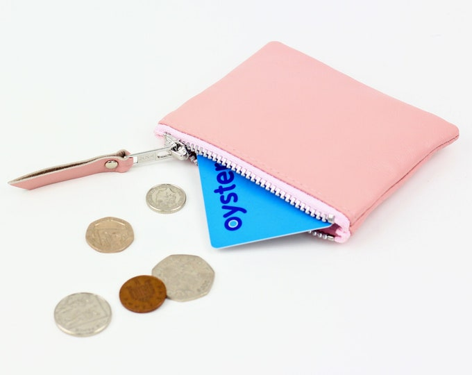 For Oyster cards store cards tickets ID card credit cards coin and card purse Pink leather cash