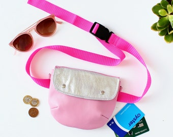 Pink Silver Leather Fanny Pack // Hip Bag, Leather Belt Bag, Leather Bum Bag, Leather Waist Bag, Small Crossbody Bag, Waist Bag, Bum Bag,