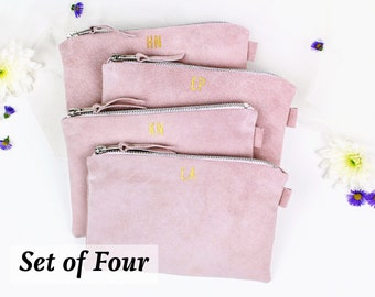 3805a7d66a3d Bridesmaid Gift Set    Bridesmaid Suede Clutch    Set of 4 Wedding Bags    Personalised  Bridesmaid Bags    Gift for Bridesmaid