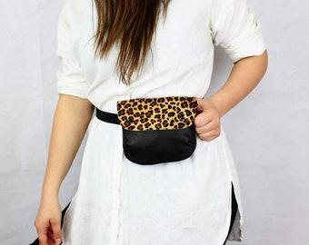 85388279c4091a Leopard Leather Fanny Pack // Flat Belt Bag, Fanny Pack For Women, Hip Bag  Festival, Travel Bag, Leather Pocket Belt, Bum Bag For Women