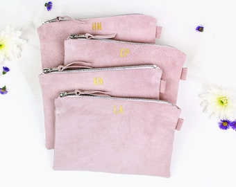 Bridesmaid Gift Set // Bridesmaid Suede Clutch // Set of 4 Wedding Bags // Personalised Bridesmaid Bags // Gift for Bridesmaid