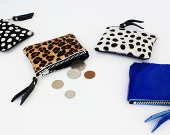 Animal Print Leather Coin Pouch / Leather coin purse, Change Purse, Leather change pouch, leather change purse, leather coin bag