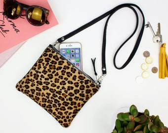Leopard Print Leather Crossbody Bag // casual leather bag, Woman leather bag, gift for her, clutch bag, Leather Clutch Bag, shoulder purse