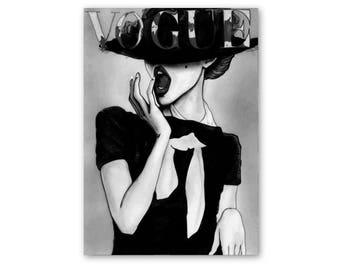 Vogue cover art print, Vogue poster, Vogue print, Vogue cover, fashion wall art, Vogue illustration, fashion prints, fashion art