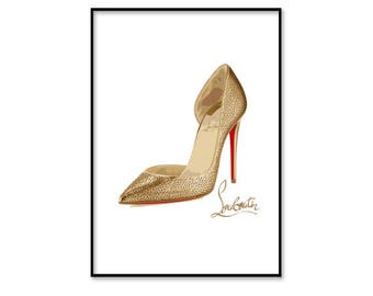 Christian Louboutin shoes, Christian Louboutin heels, fashion wall art, fashion illustration print, digital download art, printable, instant