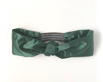 Headband Satin duchess fabric Green Turban Adjustable Size Party French Chic Hair Accessories Handmade in Paris For Woman