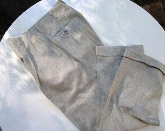 167af4989aba12 1950' s pieghe Baggies in inverno bianco con grigio Flecked lana/classico e  raro/32 pollici vita