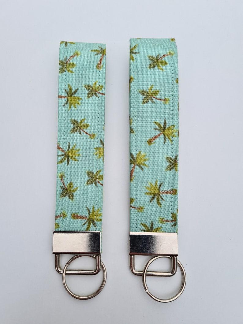 Palm Tree Tropical Fabric Key Fob Keyring Handmade Wristlet Gift Palm Leaf Men Ladies Mothers Day New Home Bag Tag