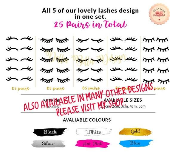 Eyelashes Vinyl Stickers Set Unicorn eye Lashes Design4 Home decor Craft Kids
