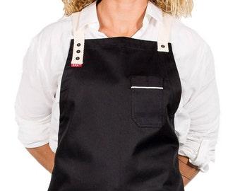 CROSS-BACK BLACK apron