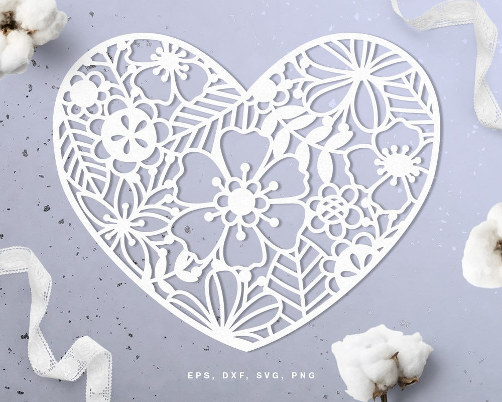 Floral Heart Digital Cut File Svg Dxf Png Use With Etsy