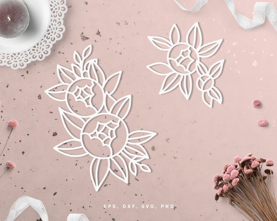 Set Of Peony Flowers Cut File Svg Dxf Png Eps For Silhouette Etsy