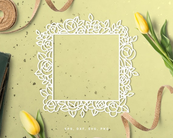 Floral Square Frame Cut File Svg Dxf Png Eps For Silhouette Etsy
