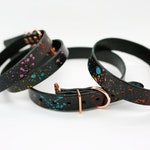 Rainbow Splatter Hand Painted Veg Tan Black Leather Collar - Medium/Large Collars - Brass Hardware -Wipe Clean, Extra Strong