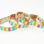 Candy Stripe Hand Painted Full Grain Leather Collar - Small Collars -Wipe Clean, Extra Strong