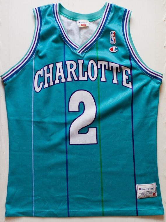 new product cf5ed fa443 Larry Johnson Charlotte Hornets NBA Champion basketball jersey vintage rare