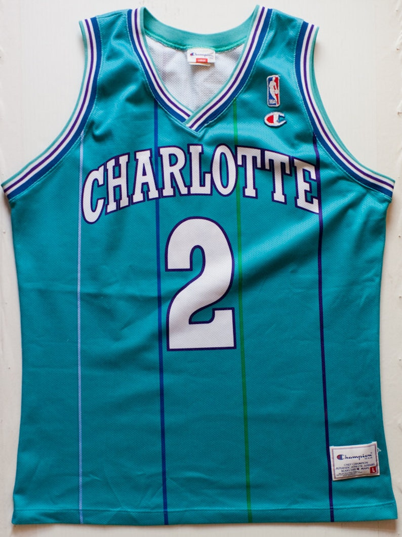 601054321c0 Larry Johnson Charlotte Hornets NBA Champion basketball jersey | Etsy