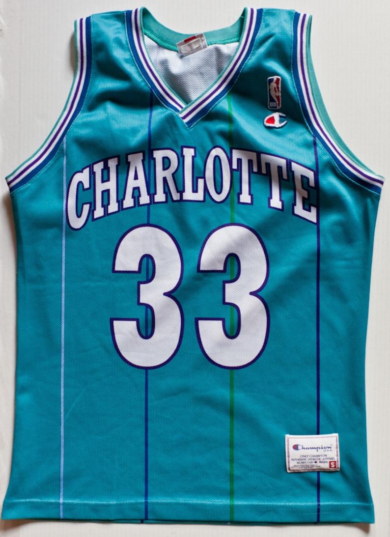 big sale d51b6 a2d61 Alonzo Mourning Charlotte Hornets NBA Champion basketball jersey vintage  rare