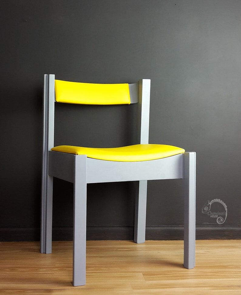 Outstanding Retro Solid Chair Mcm Chair Grey Chair Single Chair Hand Painted Furniture Retro Furniture Uk Home Remodeling Inspirations Genioncuboardxyz