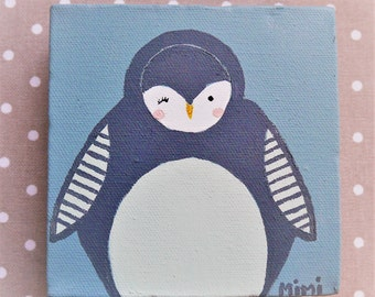 Barbouillette Penguin - acrylic on Canvas 3D - blue gray and charcoal