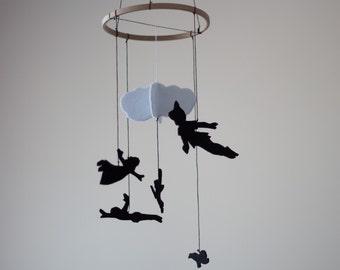Peter Pan inspired Baby Room Decor, Nursery Decor, Felt Mobile, Kids Room Decor, Baby Crib Mobile, Felt Decoration