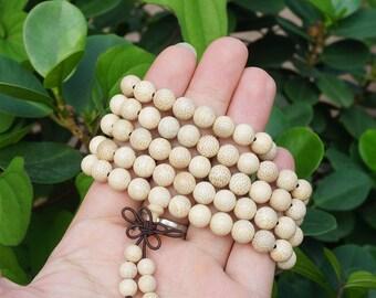 Mala Rudraksha 108 Gebetskette Braun Weiß Indien Natur Buddhismus Meditation 49b