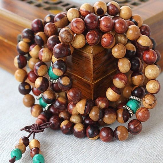 8mm Wooden Wood Round Fragrant Mala Necklace Beaded Buddhist Meditation Jewelry