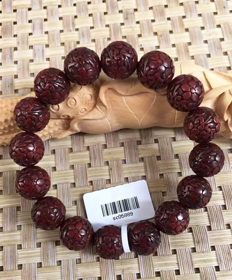 16mm18mm  Natural India Red Sandalwood Grade AAA Beads High-density Carved Flower Prayer Mala Beads Men or Women Bracelet DIY Accessories