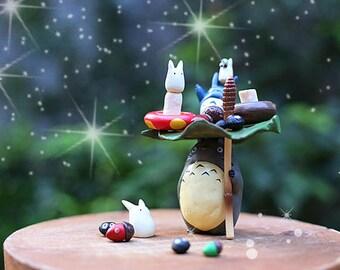 Miniature Ghibli Studio Totoro Figurines Terrarium Material Accessories Miniature Succulent  DIY Accessories 17pcs
