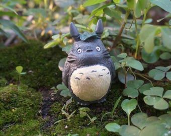 Miniature Small Totoro Head with Leaf Fairy Garden Supplies Terrarium Figurines DIY Accessories