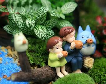 Fairy Garden Accessories set of 5 Miniature 2 Totoro 2 Girl and  Imitation Wood Garden Decoration Miniature Terrarium Accessories