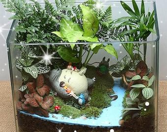 Ghibli Studio My Neighbor Totoro Girls Sleep on Totoro Fairy Garden Miniature Succulent DIY  Terrarium Accessories