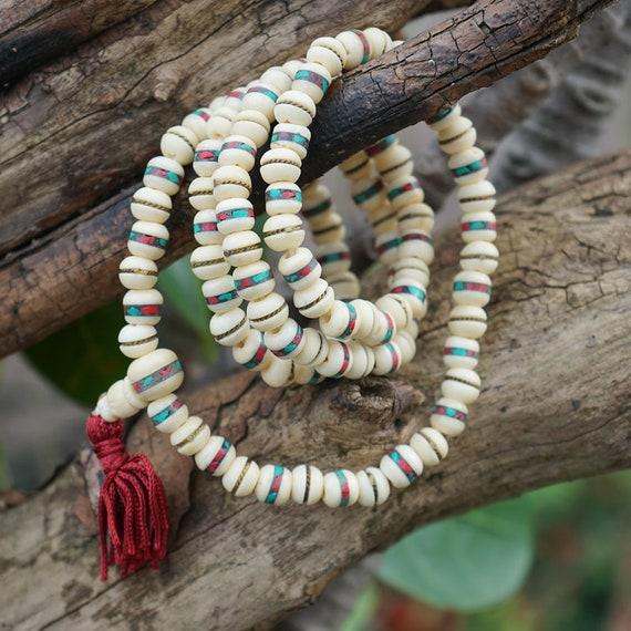 1 set Natural Ivory White Bodhi Root Guru Mala Prayer Bead approx 10mm