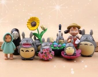 9pcs Fairy Garden Supplies Miniature Ghibli Studio Set of 9 Totoro and Girl Non-Face Man Terrarium Figurines DIY Accessories