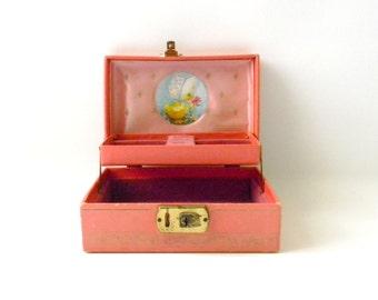 Antique Pink Childrens Jewelry Box