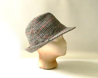 952e071e6e9 Vintage Wool Houndstooth Fedora Hat