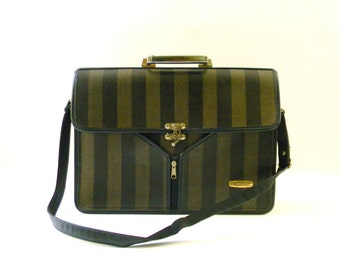 "Vintage Striped ""Montana"" Briefcase / Attache case"