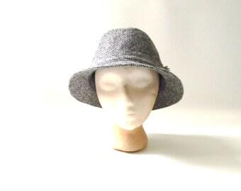Vintage Wool Tweed Fedora hat bfbf52f438d0