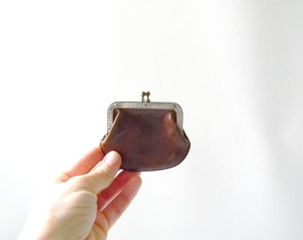 Retro Brown Leather Coin Purse / Small Leather Coin Purse