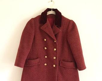 5adb00016 Vintage Maroon Childrens Wool Pea Coat