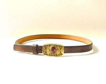 Vintage Brown Leather Belt with Belt Buckle