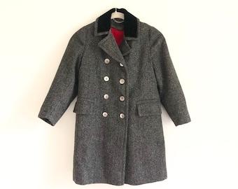 085785b08 Vintage Black and Gray Childrens Wool Pea Coat