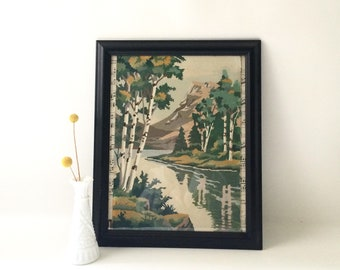 Vintage Framed Paint by Number Mountain Scene / Original Artwork
