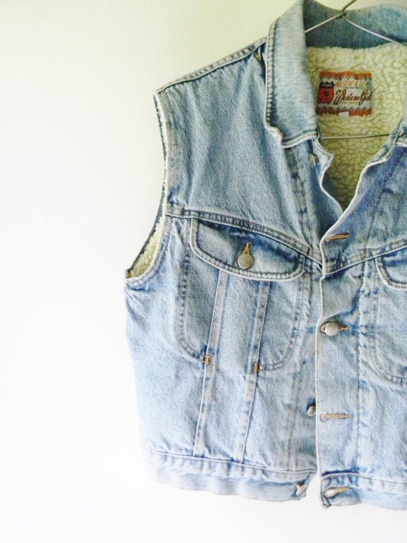 Vintage Original Big Star Denim /& Shearling Button Up Vest