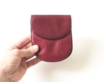 Red Leather Osgoode Marley Coin Purse / Small Leather Wallet