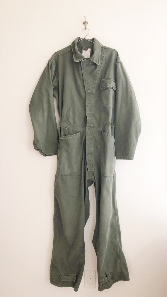 Vintage Army Green Coveralls Size Medium
