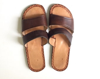 Women's Brown Leather Sandals - Size 9