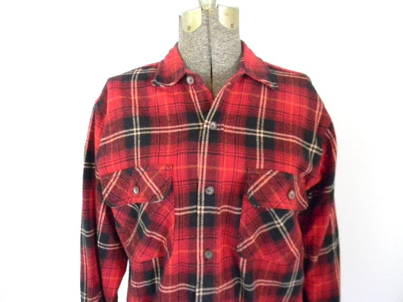 d1c195a7d30608 Męska czerwona kratka Flanelowa koszula/rozmiar medium | Etsy