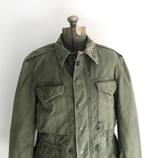 Vintage Green Army Cold Weather Coat With Liner